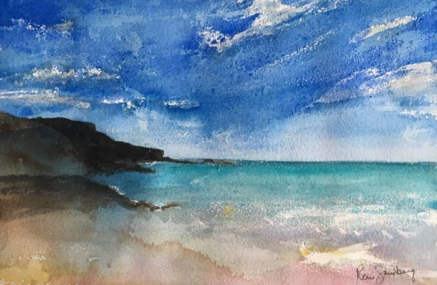 Ingrina Beach - Seascape Watercolour Painting by Rene Sandberg