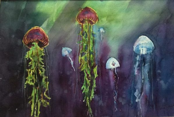 Jelly Fish Rising - Seascape Watercolour Painting by Rene Sandberg