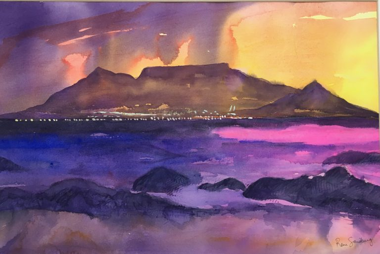Storm on Table Mountain - Seascape Watercolour Painting by Rene Sandberg