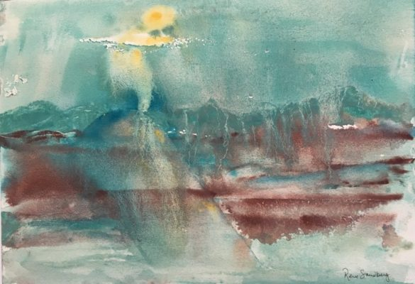 Sun on Icy Mountains - Abstract Watercolour Painting by Rene Sandberg