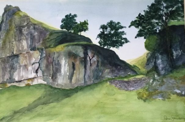 Through the Rocks - Landscape Watercolour Painting by Rene Sandberg