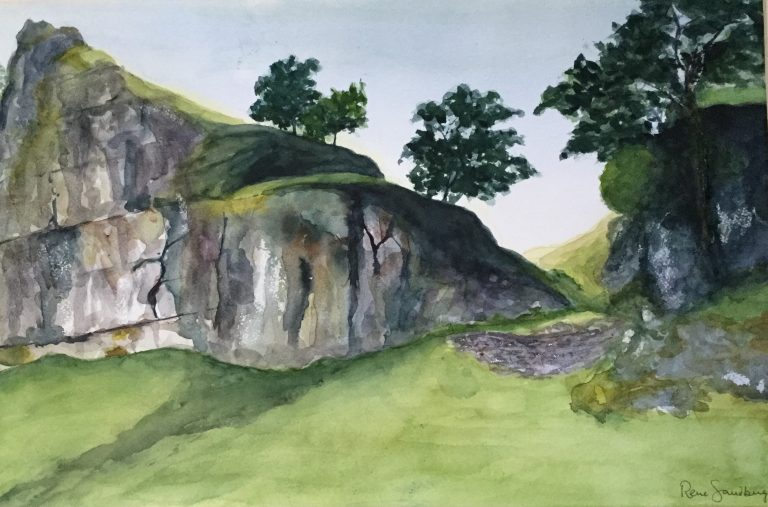 Through the Rocks - Landscape Watercolour Painting by Rene Sandberg