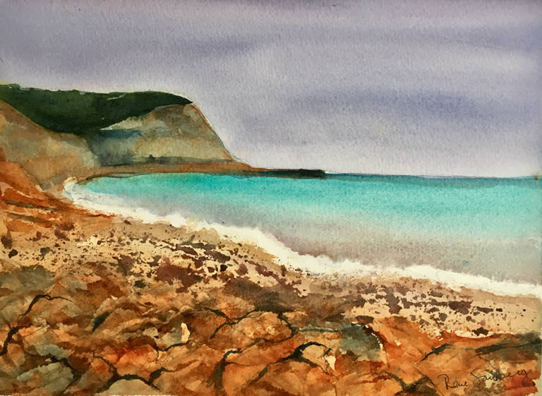 Cabanhas Velhas Seadscape Watercolour Painting by Rene Sandberg
