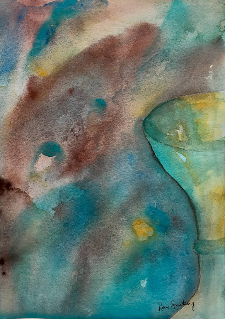 I C Cocktails Abstract Watercolour Painting by Rene Sandberg