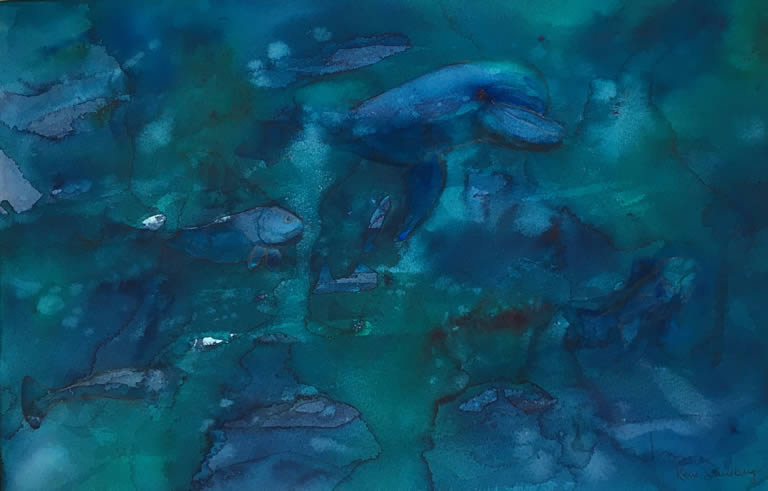 In the Deep Blue Sea Abstract Watercolour Painting by Rene Sandberg