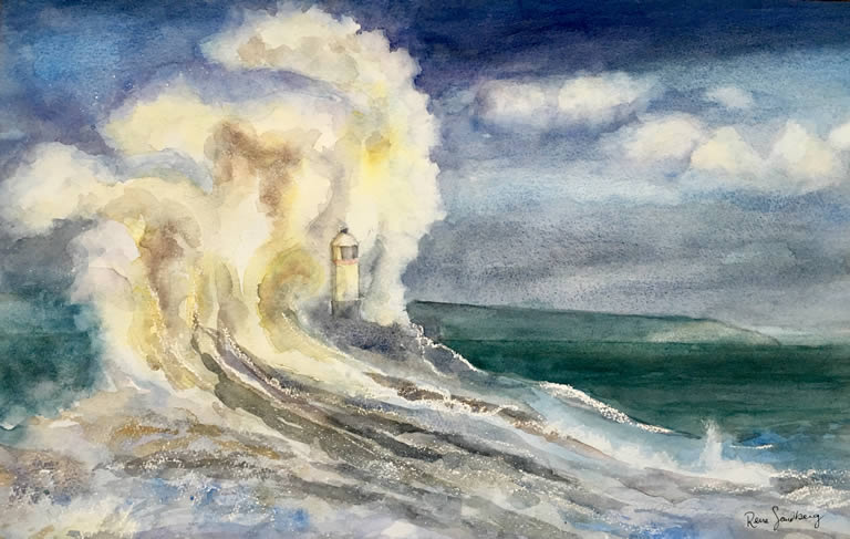 Lighthouse in the wind Seadscape Watercolour Painting by Rene Sandberg