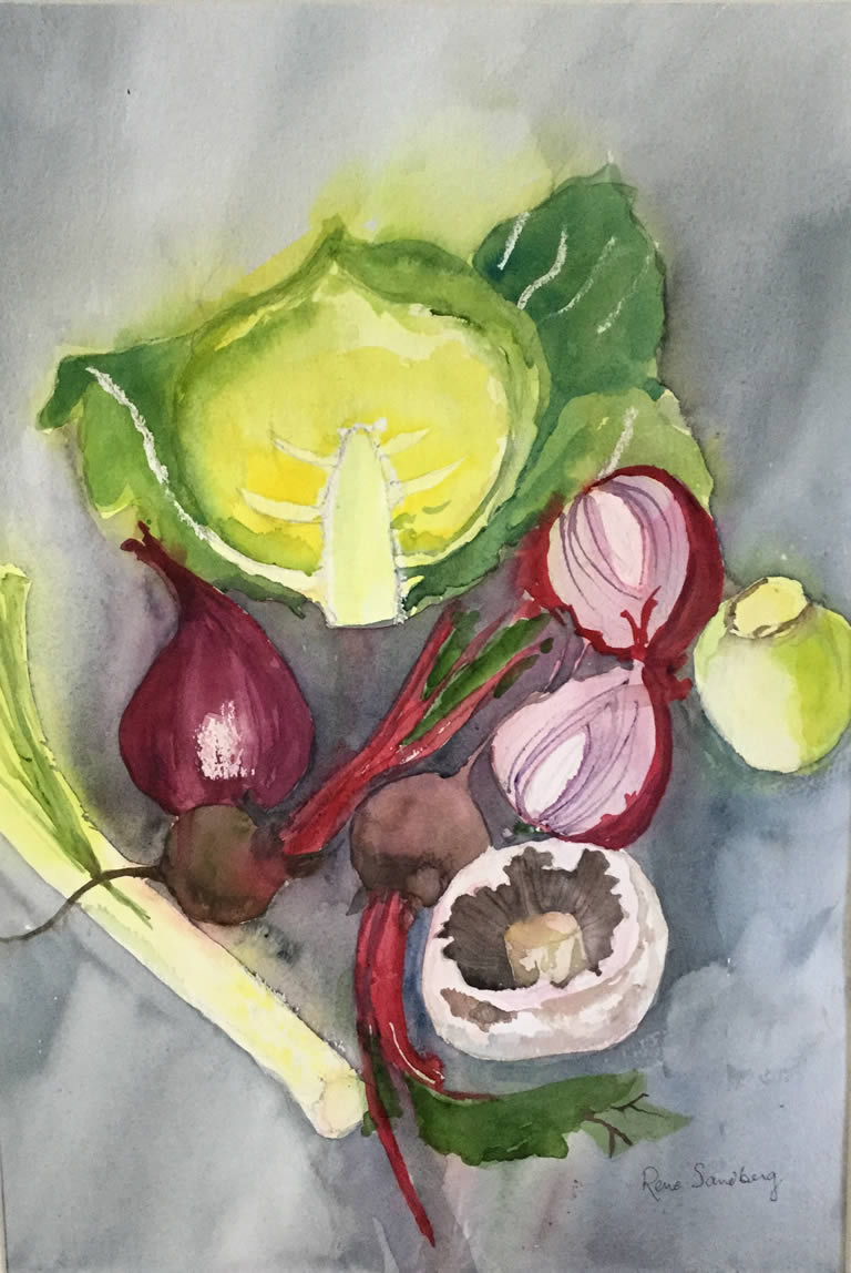 Mushroom and Friends - Abstract Watercolour Painting by Rene Sandberg