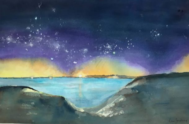 Sunset and Stars - Seascape Watercolour Painting by Rene Sandberg