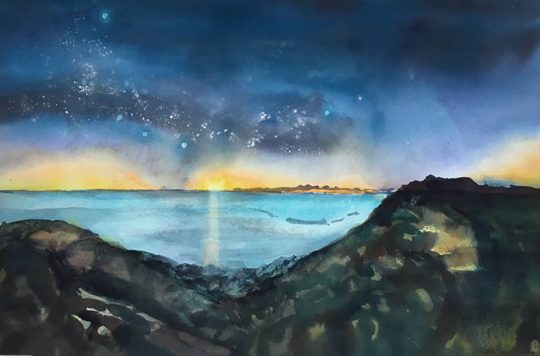 Sunset and Stars over the Sea - Seascape Watercolour Painting by Rene Sandberg