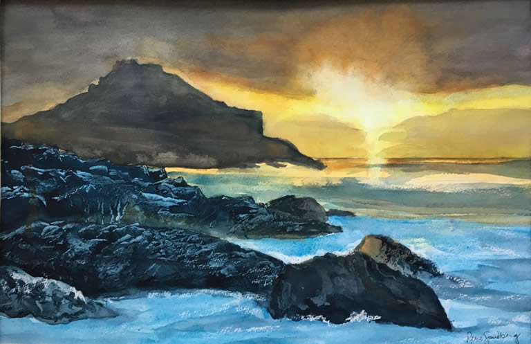 Sunset over Rocks - Seascape Watercolour Painting by Rene Sandberg