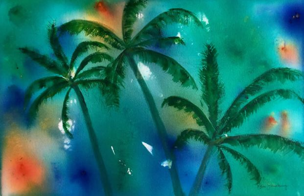 Tropicana - Abstract Watercolour Painting by Rene Sandberg