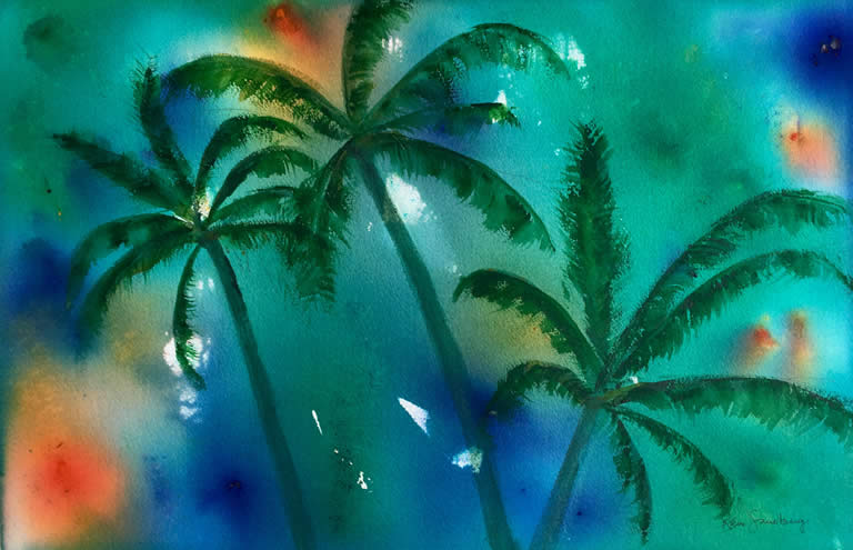 Tropicana Abstract Watercolour Painting by Rene Sandberg