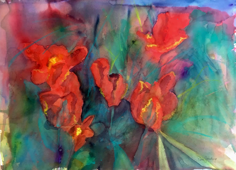 Tulips Abstract Watercolour Painting by Rene Sandberg