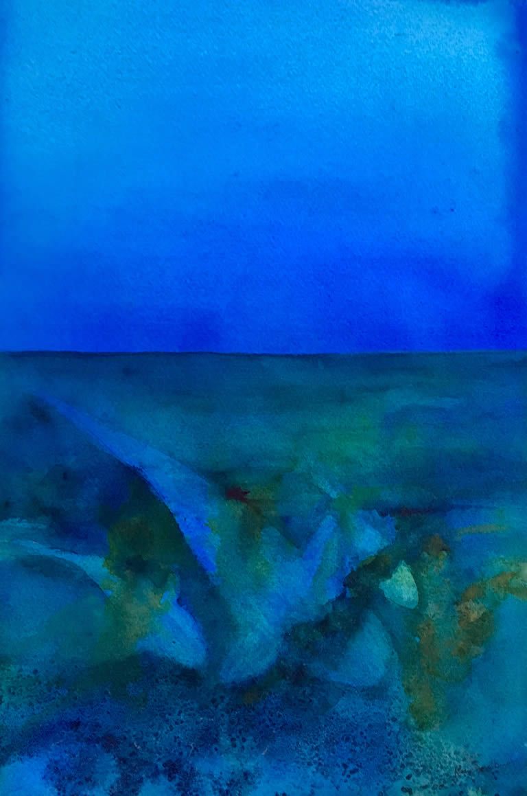 Diving Deep Seascape Watercolour Painting by Rene Sandberg