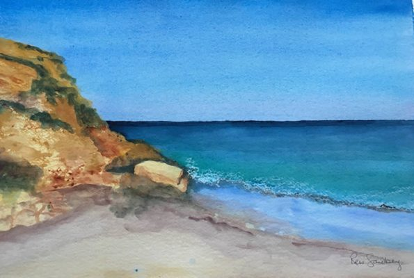 Evening Light on Burgau Beach Seascape Watercolour Painting by Rene Sandberg