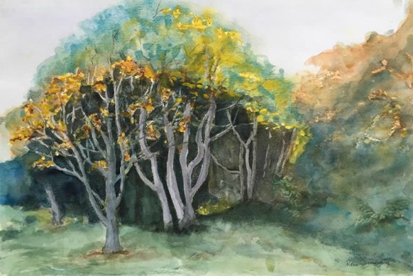 Putney Common Spring Landscape Watercolour Painting by Rene Sandberg