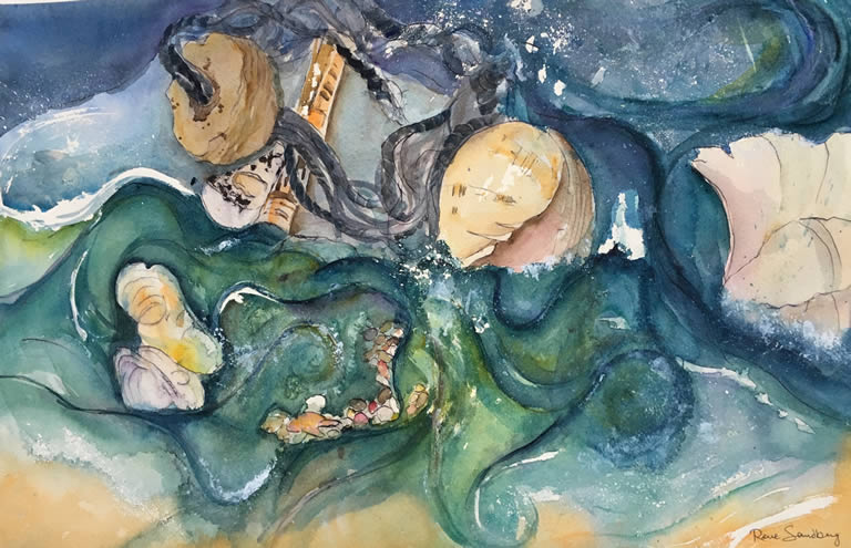 Rock Pool Seascape Watercolour Painting by Rene Sandberg