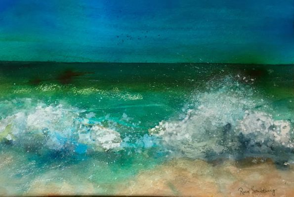 The Tides Up Seascape Watercolour Painting by Rene Sandberg