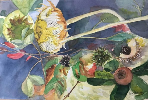Autumn Collection - Still Life Watercolour Painting by Rene Sandberg