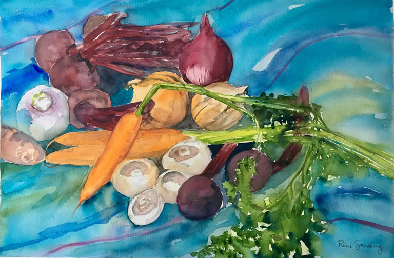 Beetroots and Carrots - Still Life Watercolour Painting by Rene Sandberg