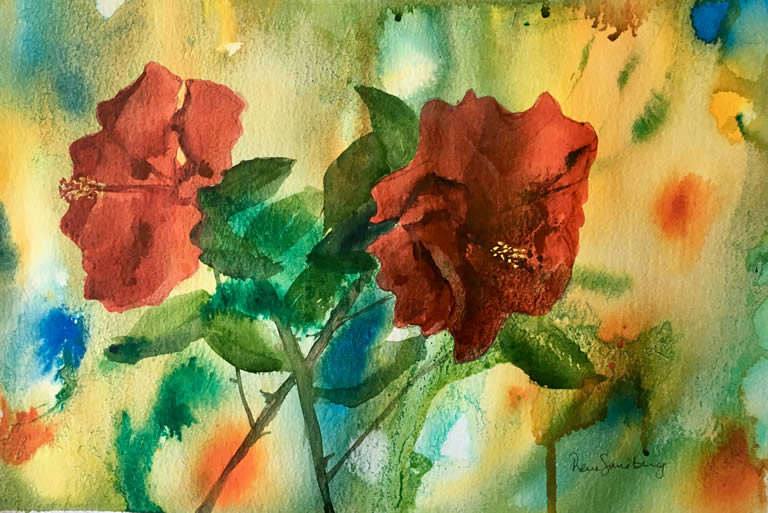 Hibiscus Flowers Watercolour Painting by Rene Sandberg