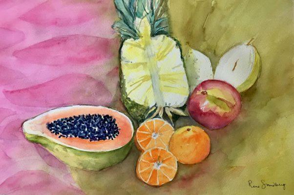 Pineapple and Papaya - Still Life Watercolour Painting by Rene Sandberg