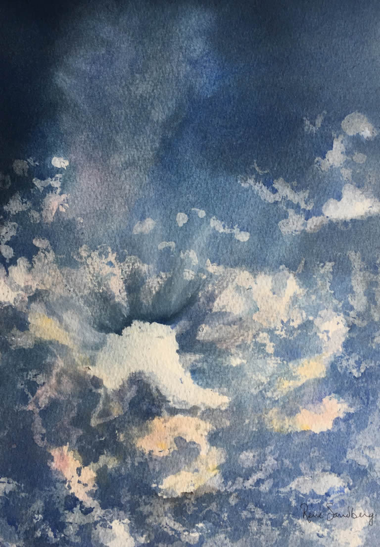Sun behind the Clouds 1 - Skyscape Watercolour Painting by Rene Sandberg