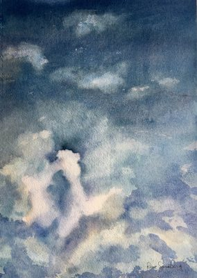 Sun behind the Clouds 2 - Skyscape Watercolour Painting by Rene Sandberg