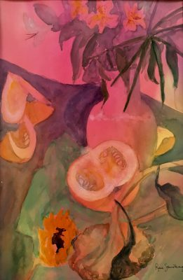 Sunflowers and Squash - Watercolour Painting by Rene Sandberg