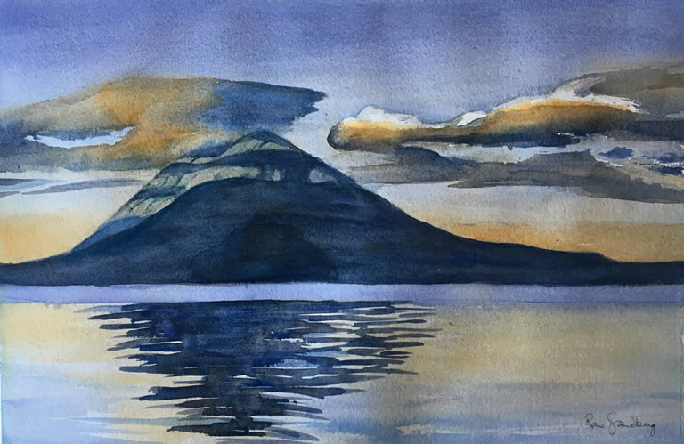 Sunset Landscape Watercolour Painting by Rene Sandberg