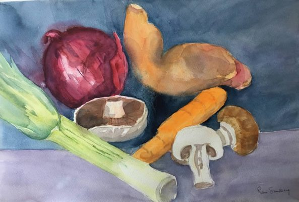 Sweet Potato - Still Life Watercolour Painting by Rene Sandberg