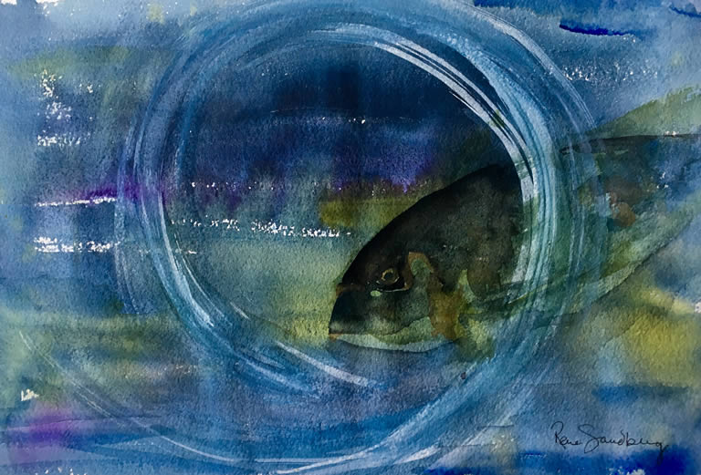 Swimming Through Seascape Watercolour Painting by Rene Sandberg