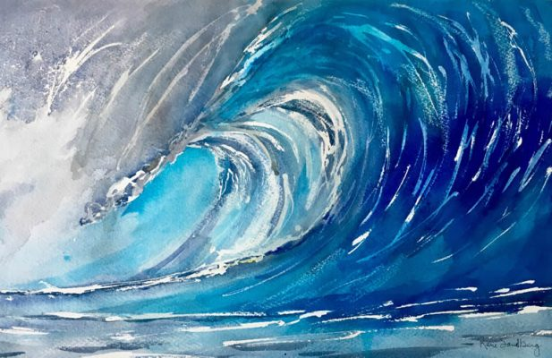 The Big Wave Seascape Watercolour Painting by Rene Sandberg