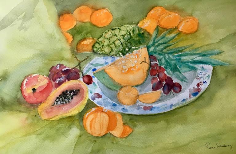 Fruit - Still Life Watercolour Painting by Rene Sandberg