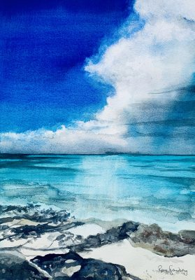 Bahamas Seascape Watercolour Painting by Rene Sandberg