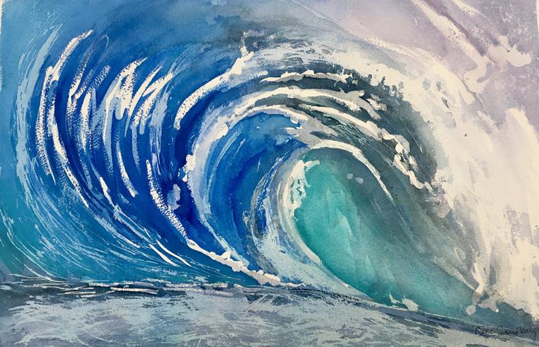 Big Wave 2 Seascape Watercolour Painting by Rene Sandberg