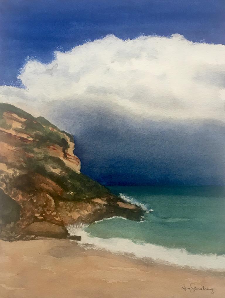 Burgau Beach, Algarve 1 Seascape Watercolour Painting by Rene Sandberg