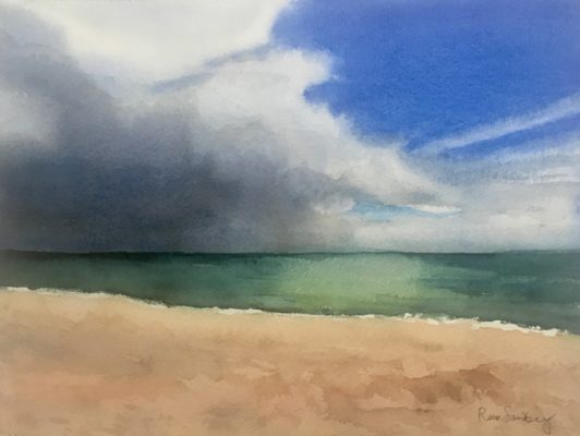 Burgau Beach, Algarve 2 Seascape Watercolour Painting by Rene Sandberg