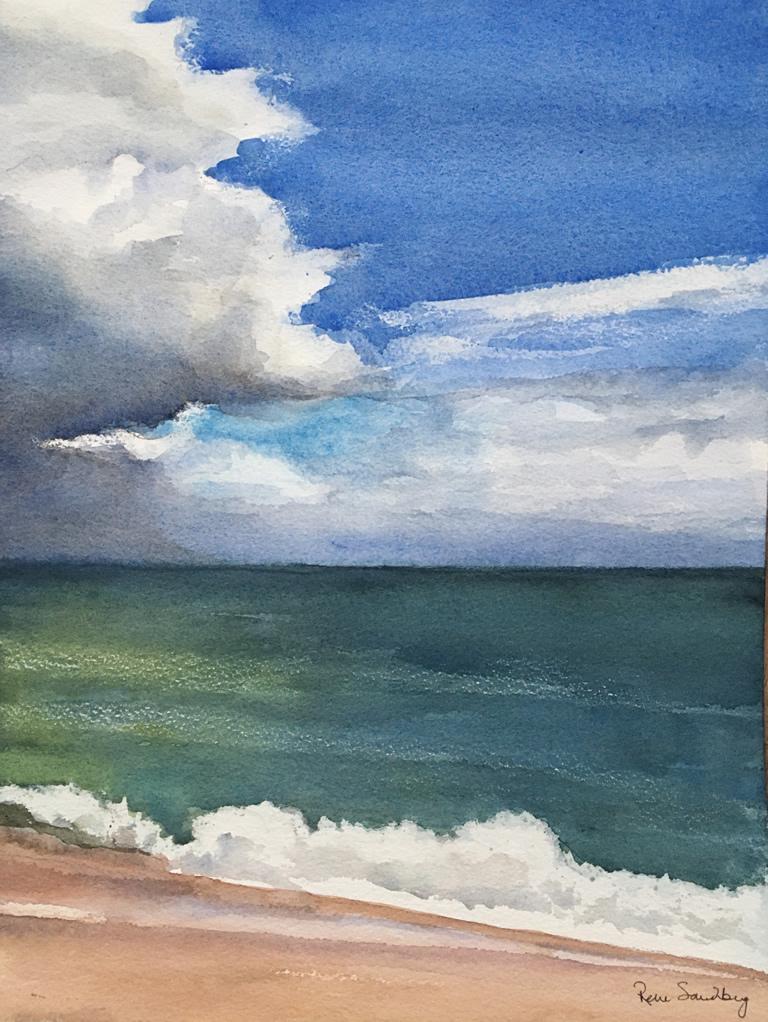 Burgau Beach, Algarve 3 Seascape Watercolour Painting by Rene Sandberg