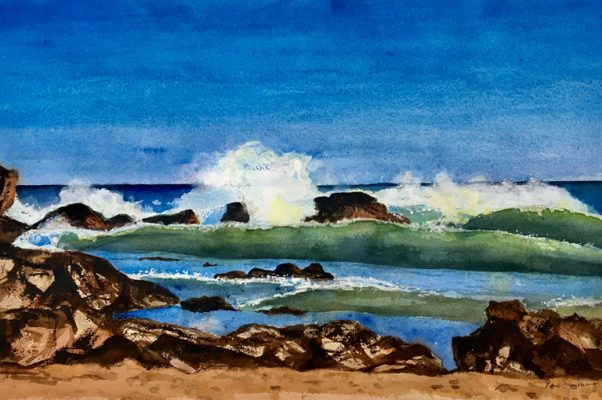 Ingrina Beach, Algarve Seascape Watercolour Painting by Rene Sandberg
