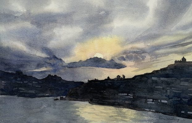 Porto Sunset Seascape Watercolour Painting by Rene Sandberg