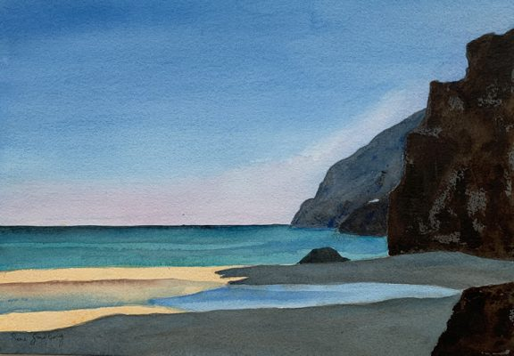 Sunset on Da Furnas Beach, Algarve Seascape Watercolour Painting by Rene Sandberg