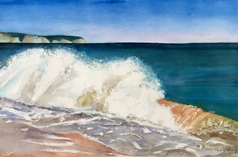 Waves at Cabanhas Beach, Algarve Seascape Watercolour Painting by Rene Sandberg