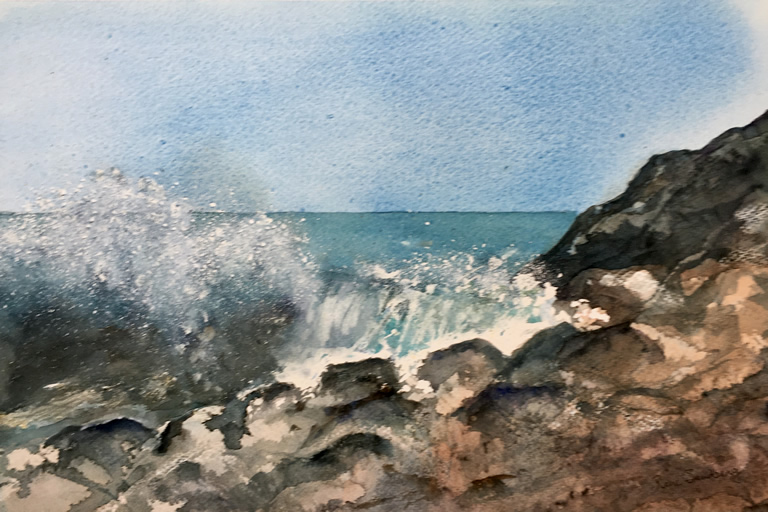 Zavial Beach, Algarve Seascape Watercolour Painting by Rene Sandberg